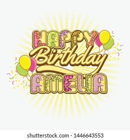 Happy birthday greetings for Amelia Vector