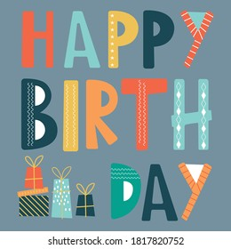 Happy birthday greetings with bright color