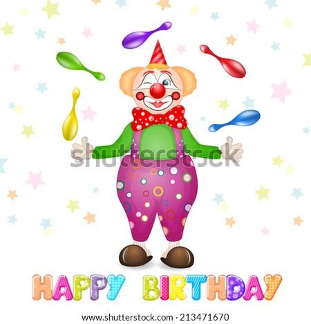Happy Birthday Greetings Cute Card With Fun Clowns