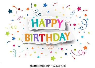 Happy birthday text images stock photos vectors shutterstock happy birthday greetings on ripped paper m4hsunfo