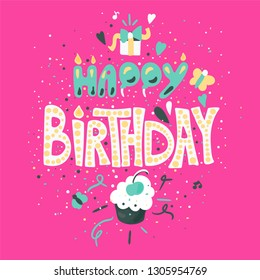 Happy Birthday hand drawn color lettering