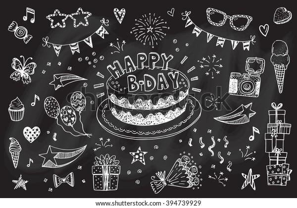 Cumpleaños de cumpleaños de niños fiesta fete fiesta lema Happy Birthday Doodle