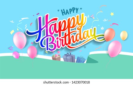 Happy birthday hand drawn vector lettering design on background of pattern with balloon and festive elements. Perfect for greeting card. - Vector