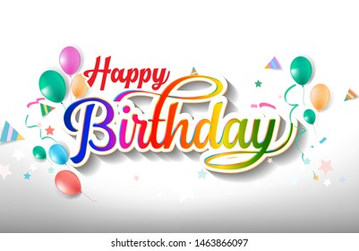 Happy birthday hand drawn vector lettering design on background of pattern with balloon and festive elements. Perfect for greeting card. - Vector - Vector