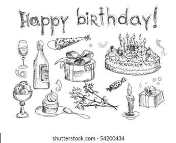 Happy birthday. Hand drawn vector.