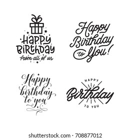 Happy Birthday Hand Lettering Compositions Set Decorative Typography For Greeting Cards Prints Posters