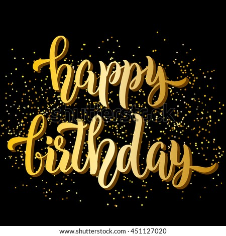 happy birthday you lettering gold frame stock vector happy birthday lettering gold glitter stock 146