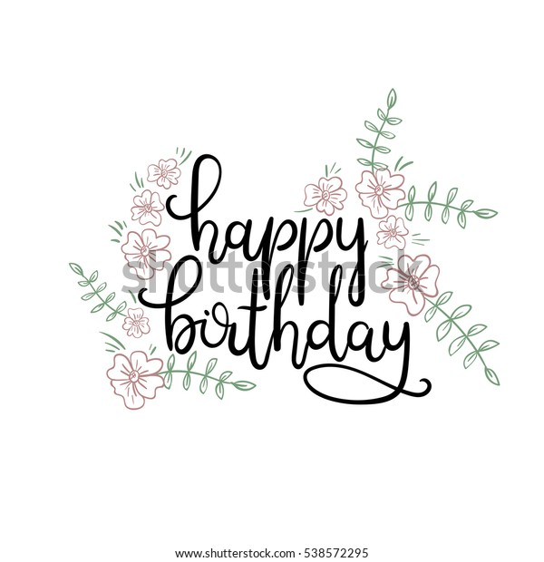 Happy Birthday Hand Lettering Greeting Card Stock Vektorgrafik