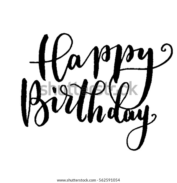 Hand Lettered Free Printable Birthday Card: Happy Birthday Hand Lettering Greeting Card Stock Vector
