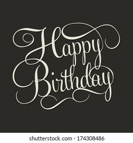 HAPPY BIRTHDAY hand lettering, handmade calligraphy, vector background