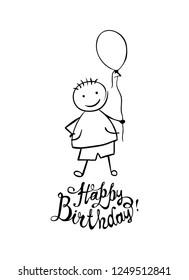 Happy Birthday. Hand written vector inscription and boy with balloon