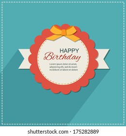 Happy birthday handmade retro holiday greeting card with paper bow and scrapbook elements.  Modern simple flat design.