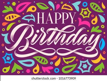happy birthday, handwritten inscription, calligraphy, lettering, pattern