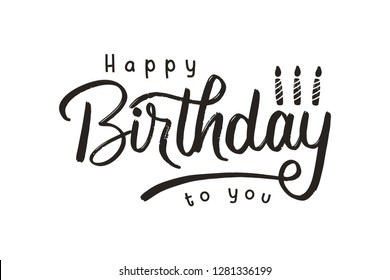 Happy Birthday Handwritten Modern Brush with Candle - Vector Illustration