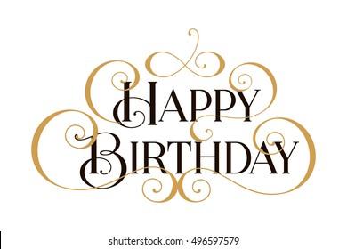 Happy Birthday Handwritten Modern Brush Black Text Gold Pinstripe White Background Beautiful
