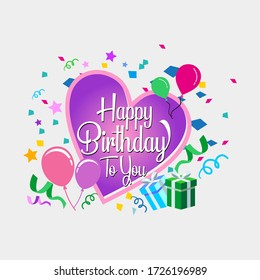 Happy birthday with heart. design template for birthday celebration, greeting cards and poster