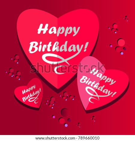 Happy Birthday Hearts On Pink Background Stock Vector Royalty Free