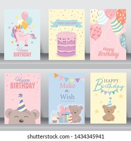 happy birthday, holiday, baby shower celebration greeting and invitation card. layout template in A4 size. vector illustration. text can be added