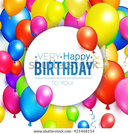 Happy Birthday Holiday Banner With Colorful Balloons Win Party Sale Design Vector Illustration