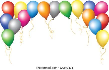 Happy birthday holiday border of colorfull balloons