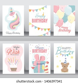 happy birthday, holiday,  celebration greeting and invitation card. layout template in A4 size. vector illustration. text can be added