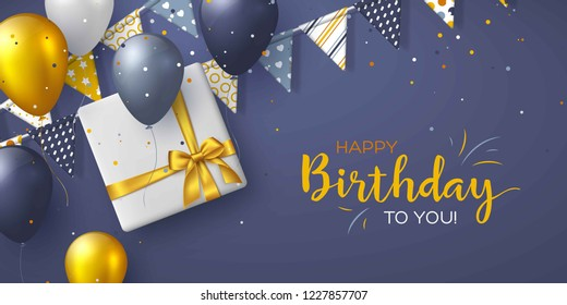 Happy Birthday holiday design for greeting cards. Bunting flags, balloons, confetti and gift box. Template for birthday celebration. Vector illustration.