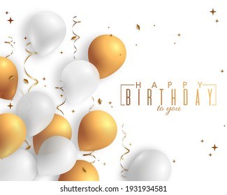 Happy Birthday holiday design for greeting cards. Balloons, confetti and ribbons. Template for birthday celebration