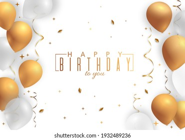 Happy Birthday holiday design for greeting cards. Balloons, confetti and gift box. Template for birthday celebration