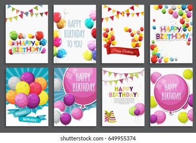 Happy Birthday, Holiday  Greeting and Invitation Card Template Set with Balloons and Flags. Vector Illustration EPS10