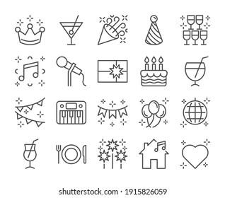 Happy birthday icon. Party line icons set. Vector illustration. Editable stroke. - Shutterstock ID 1915826059