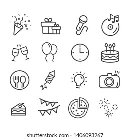 Happy birthday icon set. Celebration concept in modern flat style. Holiday symbol for web design and mobile app isolated on white background