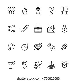 Happy birthday icon set. Collection of high quality outline birthday pictograms in modern flat style. Black holiday symbol for web design and mobile app on white background. Celebration line logo.