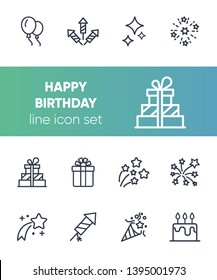 Happy birthday icon set. Line icons collection on white background. Firework, firecracker, gift. Celebration concept. Can be used for topics like holiday, party, surprise
