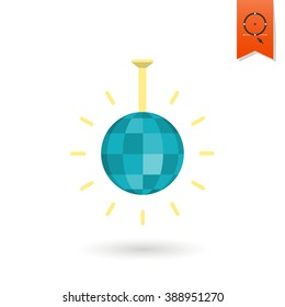 Happy Birthday Icon. Shiny Disco Ball. Simple, Minimalistic and Flat Style. Colorful. Vector