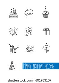 Happy birthday icons on white background. Vector illustration.