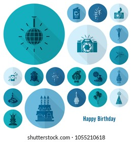 Happy Birthday Icons Set. Simple, Minimalistic and Flat Style. Monochrome color. Long Shadow. Vector