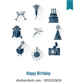 Happy Birthday Icons Set. Simple, Minimalistic and Flat Style. Long Shadow. Vector