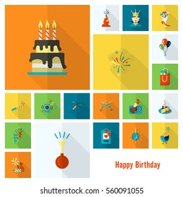 Happy Birthday Icons Set. Simple, Minimalistic and Flat Style. Colorful. Long Shadow. Vector