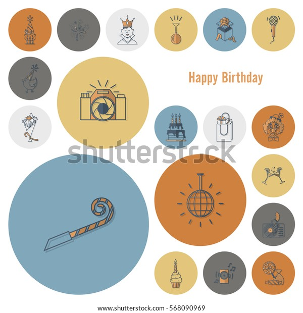 Happy Birthday Icons Set. Simple, Minimalistic and Flat Style. Retro Color. Vector