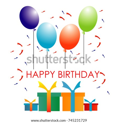 Happy Birthday Illustration With Green Red Purple Blue Balloon Box Gift And Decoration On White Background