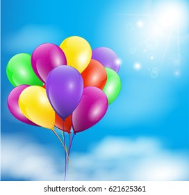 Happy birthday illustration of a set of colourful  balloons. Vector illustration