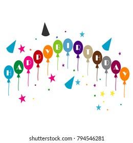 Happy birthday illustration vector for card invitation birthday celebration isolated