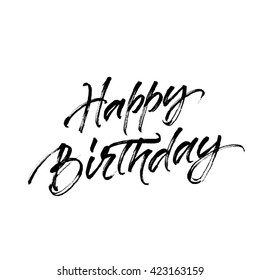 Happy birthday inscription with halftone effect. Inscription isolated on white background.