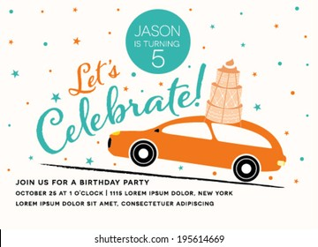 Happy Birthday Invitation Car Design Vector Stock Vector Royalty