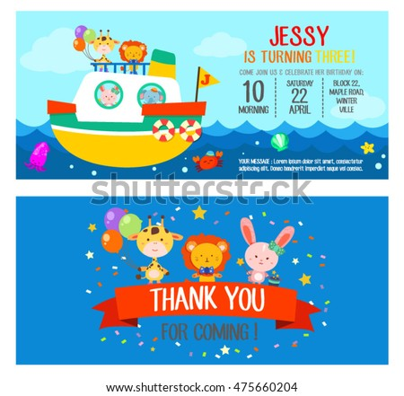Happy Birthday Invitation Card With Animal Friends On Ship Set One