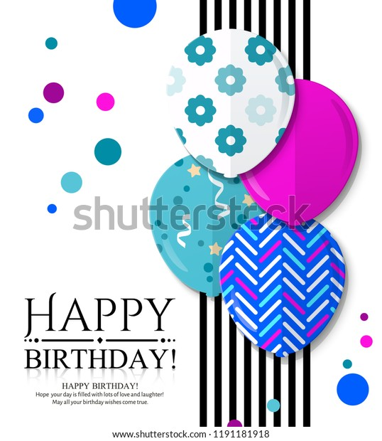 Happy Birthday Invitation Card Colorful Patterned Stock