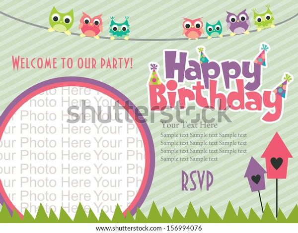 Happy Birthday Invitation Card Design Vector Stock Image