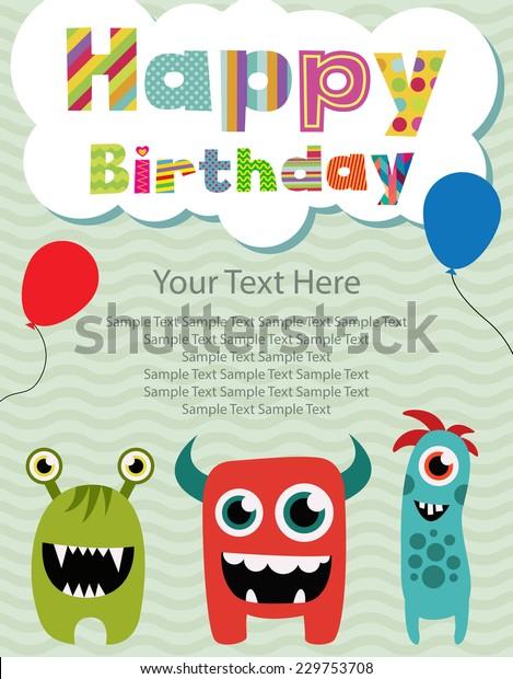 Remarkable Happy Birthday Invitation Card Design Stock Vector Royalty Free Funny Birthday Cards Online Inifofree Goldxyz