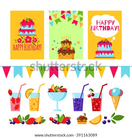 Happy birthday invitation card flat vector stock vector royalty happy birthday invitation card flat vector kids templates design for party background with cake filmwisefo