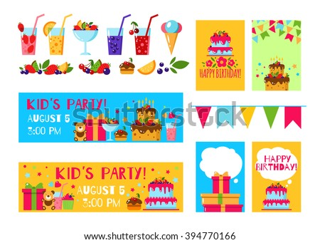 Happy Birthday Invitation Card Flat Vector Kids Party Background With Lemonade